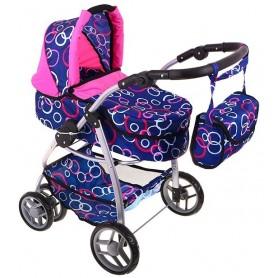 Lėlės vežimėlis Belly (spalva - blue rings)