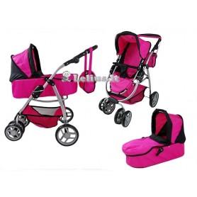 Lėlės vežimėlis Belly (spalva - hot pink)
