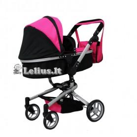 Vežimėlis lėlėms Bunny (spalva - black pink)