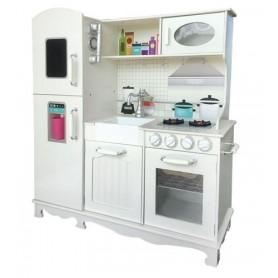 Didelė medinė virtuvėlė su šaldytuvu