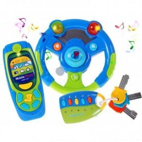 Vaikiškas vairas su garsais, telefonu ir pultu