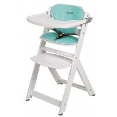 Medinė maitinimo kėdutė Timba White su staliuku ir įdekliuku