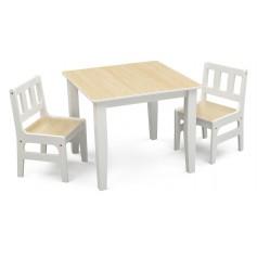 Vaikiškas staliukas su 2 kėdutėmis Natural