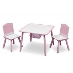 Medinis staliukas su 2 kėdutėmis Pink