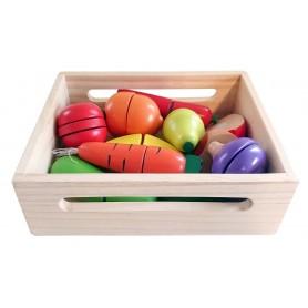 Pjaustomų vaisių ir daržovių rinkinys dėžutėje