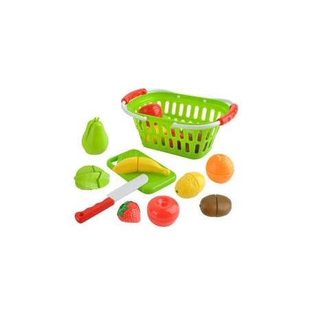 Pjaustomų vaisių rinkinys krepšelyje