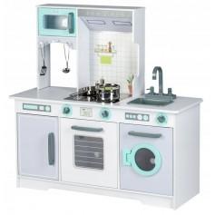 Vaikiška moderni medinė virtuvėlė su indais
