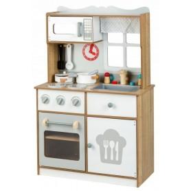 Medinė vaikiška virtuvėlė su indais