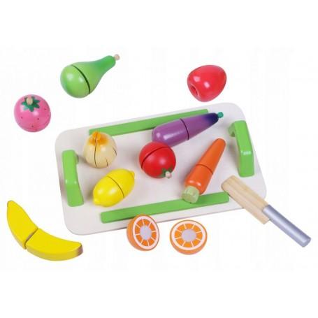 Pjaustomos medinės daržovės ir vaisiai Multi su padėklu