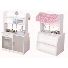 Medinė virtuvėlė dvipusė su priedais
