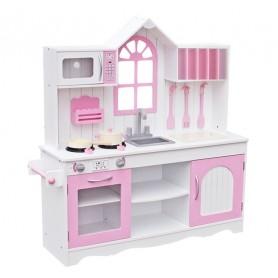 Medinė virtuvėlė Retro Pink su priedais