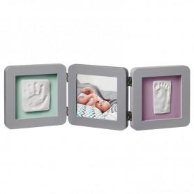 Baby Art trigubas rėmelis su įspaudais Grey
