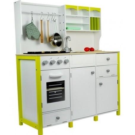 Medinė virtuvėlė White-Green su priedais