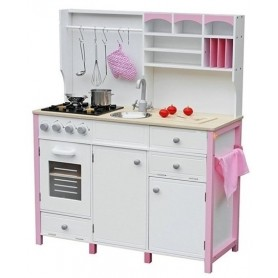 Medinė virtuvėlė White-Pink su priedais