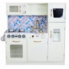 Vaikiška medinė virtuvėlė Modern Beige su indais