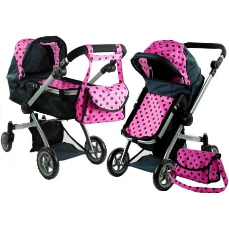 Vežimėlis lėlėms Alicia (spalva - black/pink)