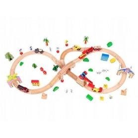 Medinė traukinių trasa su elektriniu traukinuku (78 detalės)