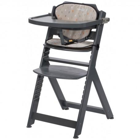 Medinė maitinimo kėdutė Timba Grey su staliuku ir įdekliuku