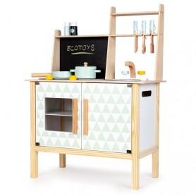 Medinė virtuvėlė su garsais ir piešimo lenta
