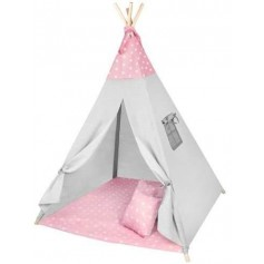 Tipis vaikams su minkštu kilimėliu Pink Stars