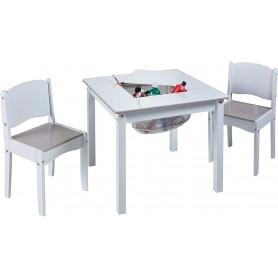 Vaikiškas staliukas su 2 kėdutėmis White