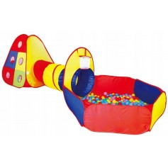 Interaktyvi žaidimų palapinė su tunėlių ir kamuoliukais