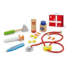 Mediniai gydytojo įrankiai raudoname lagaminėlyje