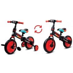 Molto dviratukas su pagalbiniais ratukais ir pedalais 3in1