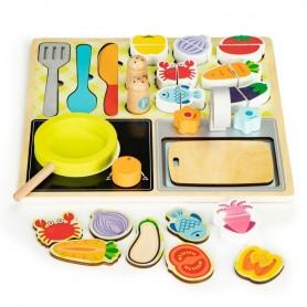 Medinė kompaktiška virtuvėlė + 13 priedų