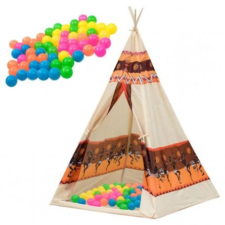 Vaikiška žaidimų palapinė Wigwam + 60 kamuoliukų