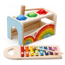 Medinis ksilofonas su plaktuku ir pagaliuku Rainbow
