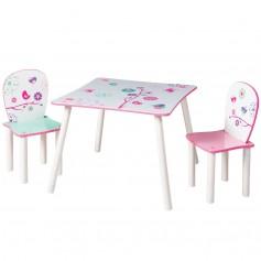 Vaikiškas medinis staliukas su kėdutėmis Birds