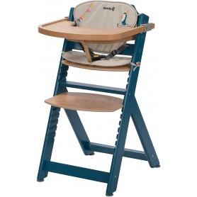 Medinė maitinimo kėdutė Timba Petrol Blue su staliuku ir paminkštinimu