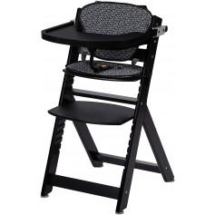 Medinė maitinimo kėdutė Timba Black su staliuku ir įdekliuku