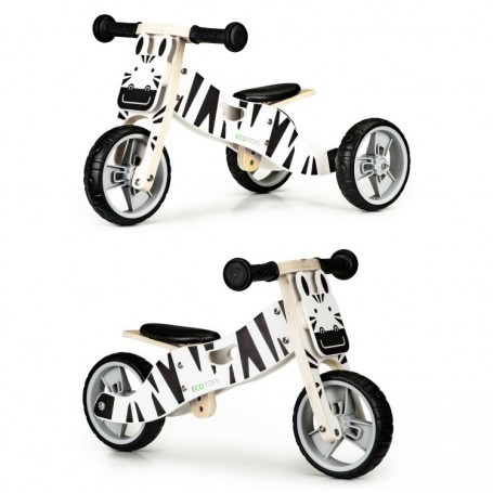 Medinis balansinis dviratukas Zebra 2in1