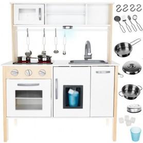 Medinė virtuvėlė White Natur + priedai