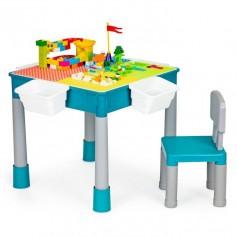 Dvipusis lavinamasis stalas su kėdute ir kaladėlėmis