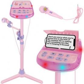 Vaikiškas mikrofonas su stovu - karaoke su efektais