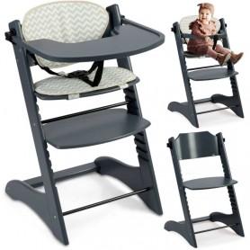 Medinė maitinimo kėdutė Luna Deluxe su staliuku ir įdėkliuku