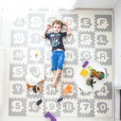 Didelė dėlionė - kilimėlis su raidėmis ir skaičiais Grey-White