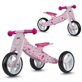 Medinis balansinis dviratukas Lama Pink 2in1
