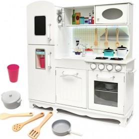 Medinė virtuvėlė su šaldytuvu ir LED juosta