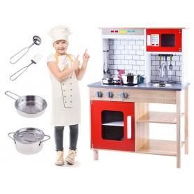 Medinė vaikiška virtuvėlė Red Kitchen + indai