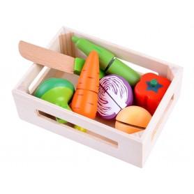 Medinių pjaustomų daržovių rinkinys dėžutėje
