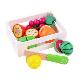 Medinių pjaustomų vaisių rinkinys dėžutėje