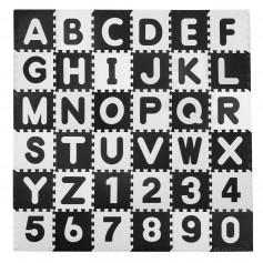 Didelė dėlionė - kilimėlis su raidėmis ir skaičiais Black-White