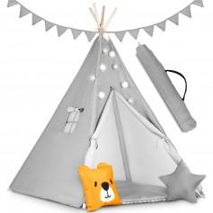 Palapinė Tipi Bear su girlianda, švieselėmis + 2 pagalvėlės