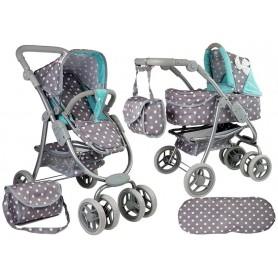 Lėlės vežimėlis Bella 2in1 Grey Turquise