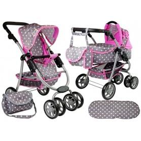 Lėlės vežimėlis Bella 2in1 Pinky
