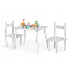 Vaikiškas medinis staliukas su kėdutėmis MultiWhite